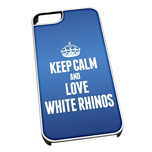 Bianco cover per iPhone 5/5S 2502 blu bianco Keep Calm and Love Rhinos