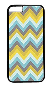 VUTTOO Inspired On Spring Colors Yellow Cyan Dark Chevron Polycarbonate Hard Case Protective Cell Phone Cover For Apple Iphone 6 (4.7 Inch) - PC Black