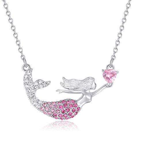 KINGSIN Girls Mermaid Necklace Friendship Share Heart Pendant Enhancers Gift