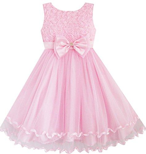 Sunny Fashion Big Girls Dress Rose Bow Tie Belt Wedding Birthday Party, Pink, - Pink Sunnies