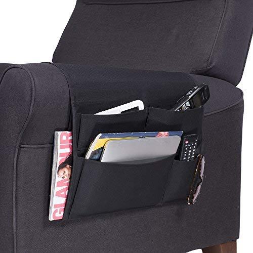 Wallniture Remote Control Holder - Tablet Gadget Caddy Pocket Organizer for Sofa Armchair - Bedside Loft Bed Storage (Black)