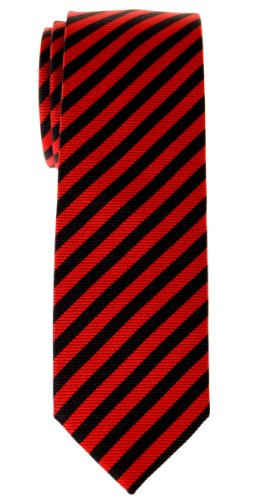 (Retreez Stripe Woven Skinny Tie - Red and Black Stripe)