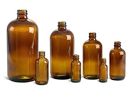 Botellas redondas de cristal ámbar Boston – NO CAPS(144 botellas)