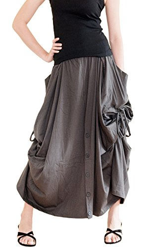 BohoHill Convertible Maxi Skirt Pants Cotton Jersey Versatile Skirt  Charcoal (One Size)