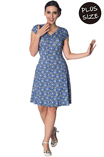 Blau Kleid Drop Anker Plus Banned Size Vintage Retro 0pg7wxqw