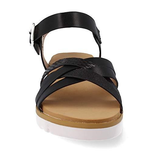 Flexible Tiras Ligera Primavera Mujer Con Suela Combinadas 2019 Metalizados Cruzadas Negro Sandalia Y Plana Verano 5vPq8x