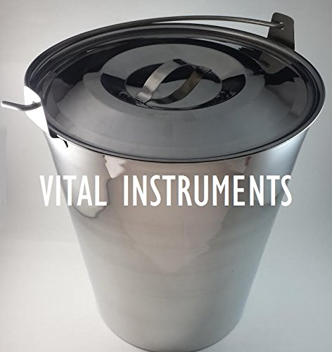 Vital Instruments Stainless Steel Bucket Pail with Lid and Handle 20 Qt. Quart Heavy Duty Medical MRI Dog Puppy Kennel Farm Ranch Water Ice Milk Utility Grooming Feeding Carrying Veterinary