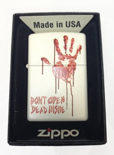 "Zippo Custom Lighter - Bloody Dead Zombie Hand ""Dont Open Dead Inside"" White Matte Rare!"