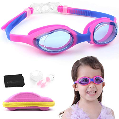 Swim Goggles, Firesara Kids Swimming Goggles for Boys and Girls- Adjustable Straps, Silicone Eye Seal, Leak proof UV Protection and Anti Fog Lenses Swimming Goggles with Ear Plug Nose Clip(Age 4-12)