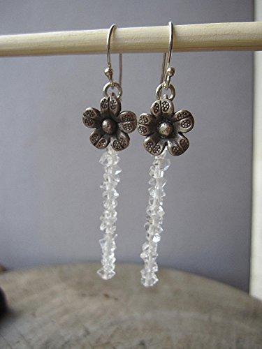 Herkimer Diamond,Karen Hill Tribe Silver Flower 925 Sterling Silver Earrings,Drop Length 5 cm,EFH (Hill Tribe Flower)