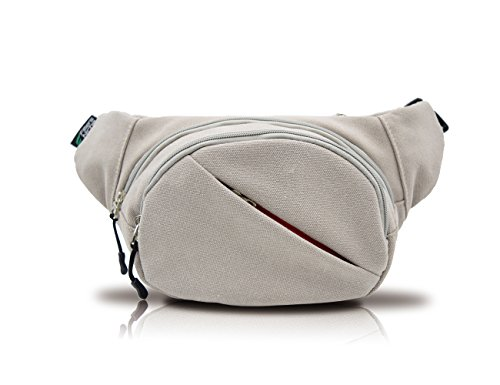 Price comparison product image Canvas Fanny Pack, Fitters Niche Waist Pack Bag With Adjustable Band for Outdoors Workout Traveling Casual Running Hiking Cycling Black (Grey)