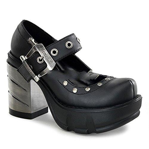 Demonia Sinister-59 - Gothic Industrial Metall High Heels Stiefel Schuhe 36-43