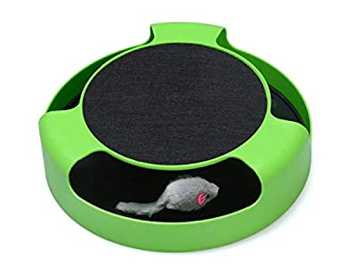 FYNIGO Cat Interactive Toys with a Running Mice and a Scratching Pad,Catch The Mouse,Cat Scratcher Catnip Toy,Green from FYNIGO