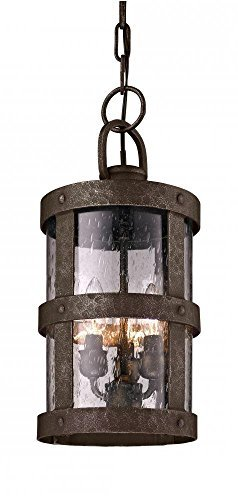 Troy Lighting Barbosa 3-Light Outdoor Pendant - Barbosa Bronze Finish with Clear Seeded Glass by Troy