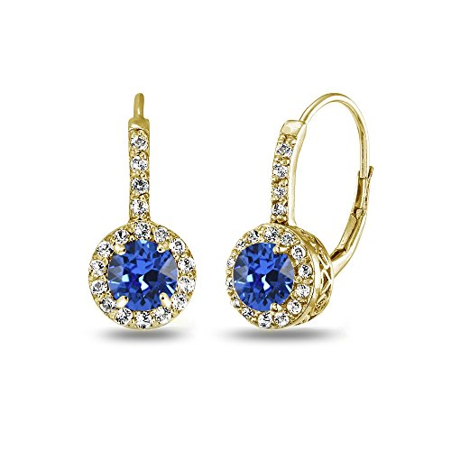 Yellow Gold Flashed Sterling Silver Blue Halo Leverback Drop Earrings created with Swarovski Crystals
