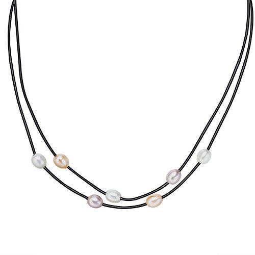 6d99b39e7f27 Envio gratis Valero Pearls - Collar de cuero embellecido con Perlas de agua  dulce - Cuero - 925 Plata esterlina - Pearl Jewellery