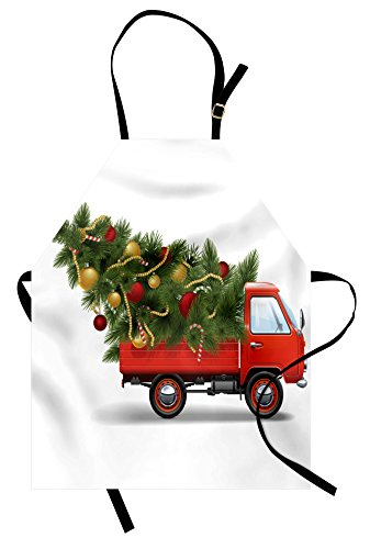 Ambesonne Christmas Apron, Red Retro Style Farm Truck and Bi