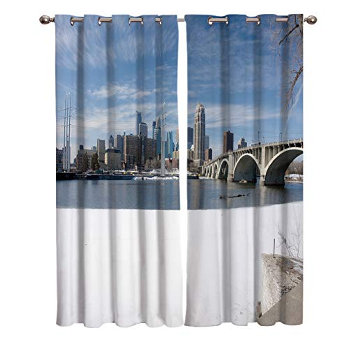 Arts Language 2 Panels Blackout Curtains for Boys/Girls Bedroom Winter Snow Scene in Minneapolis City Printed Windows Treatment Grommet Drapes for Livingroom Office 27.5(W) X39(H) InX2 -