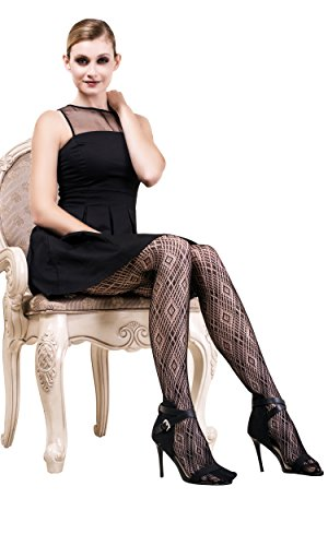Diamond Patterned Tights - ICONOFLASH Women's Patterned Fishnet Stocking Tights, Diamond Pattern