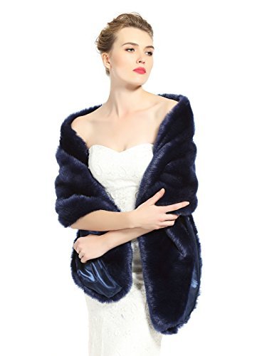 (BEAUTELICATE Women's Faux Fur Shawl Stoles Wrap for Bridal/Wedding/Party-S62 Navy Blue, Navy Blue, 67