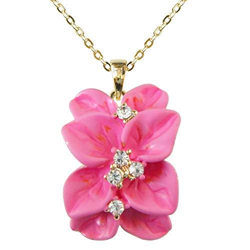 (Navachi 18k Gold Plated Clear Crystal Pink Enamel Leaves Flower Az6079p Pendant Necklace 16