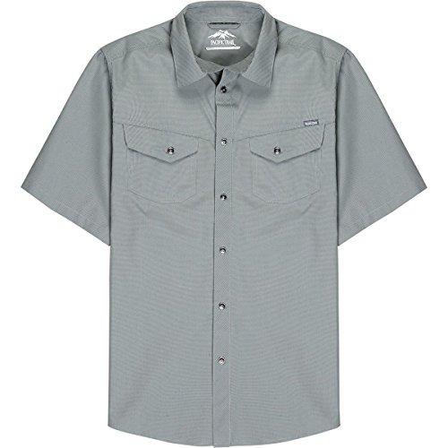 Dye Check Shirt - Pacific Trail Men's Short Sleeve Yarn Dye Mini Check Shirt, Cliff Grey, 2XLARGE