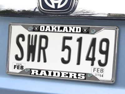 FAN MATS 15035 NFL Oakland Raiders Ez View Heavy Duty Chrome Metal License Plate Frame -