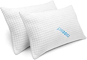 2 Pack Shredded Memory Foam Bed Pillows for Sleeping - Bamboo Cooling Hypoallergenic Sleep Pillow for Back and Side...