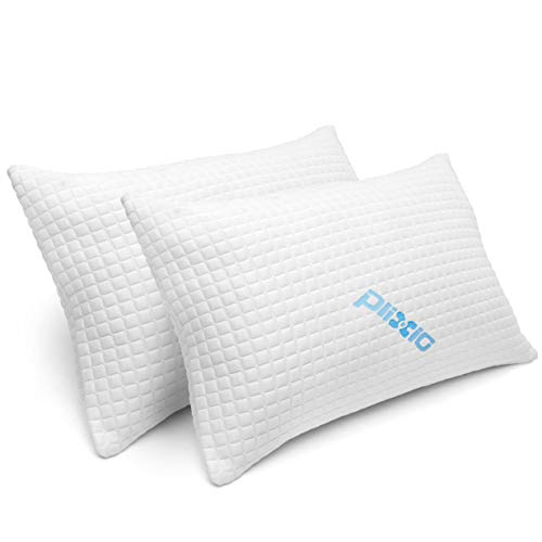2 Pack Shredded Memory Foam Bed Pillows for Sleeping – Bamboo Cooling Hypoallergenic Sleep Pillow for Back and Side…