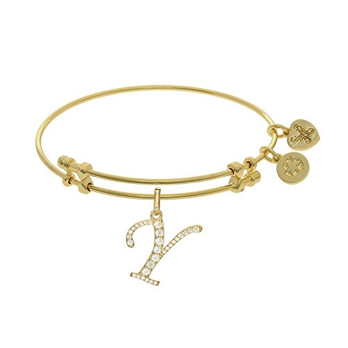 JewelryWeb Brass with Yellow Finish Initial Y Charm for Angelica Bangle Bracelet