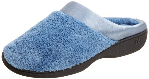 ISOTONER Women's Microterry Pillowstep Satin Cuff Clog Slippers (Denim, X-Small / 5.5-6 B(M) US)