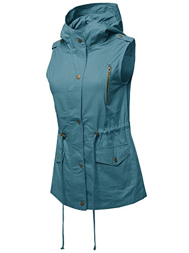 Made by Emma Casual Zipper with Snap Button Closure Military Drawstring Hoodie Vest L by Made by Emma