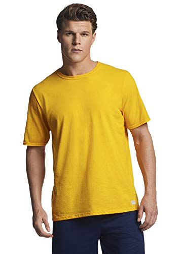 Russell Athletic Men's Performance Cotton Short Sleeve T-Shirt, Gold, L
