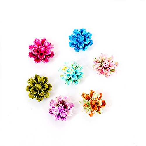 DyAiPet Resin Flowers, 140pcs Layered Daisy Flower Resin Flatback Cabochon for Scrapbooking, DIY Craft Decoration (12mm, 7colors)
