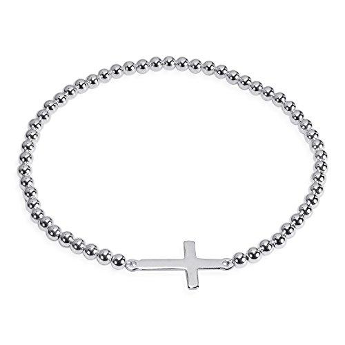 Sterling Silver Elastic - AeraVida Faithful Christian Cross .925 Sterling Silver Elastic Beads Bracelet