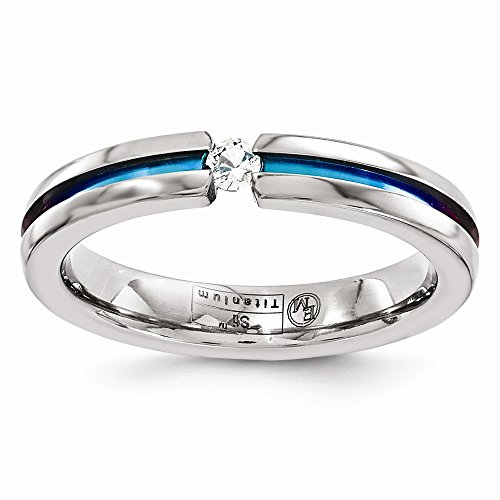 FB Jewels Solid Edward Mirell Titanium White Sapphire & Anodized 4mm Wedding Band Size 8.5
