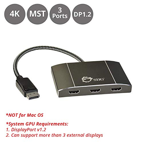 SIIG 3 Port DisplayPort to HDMI MST Hub 4K UHD - 1x3 DP to HDMI Muti Monitor Splitter - Multi-Stream Transport (MST) Technology - Ultra HD up to 3840x2160 @ 30Hz (4K) - Mirror, Extended, Video Wall (Connect Multiple Monitors)