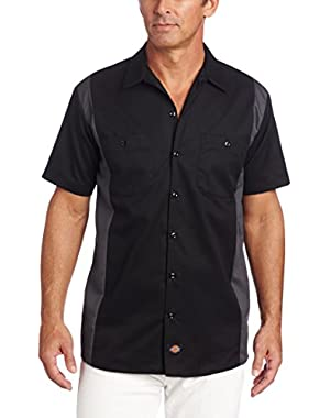 Men's Big and Tall Short-Sleeve Work Shirt, Black/Charcoal, 4X-Large