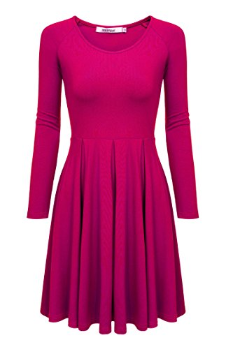 Meaneor Women Long Sleeve Casual Scoop Neck Raglan Sleeve Pleat Flare Tunic Top (XXL, Rose Red) (Neck Skirt Pleat Scoop)