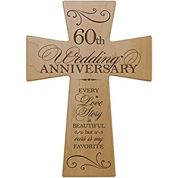60th Wedding Anniversary Maple Wood Wall Cross Gift For Couple 60 Year Gifts
