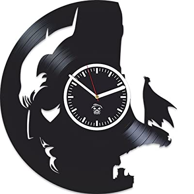 Batman Face Knightfall Returns Super Hero Vinyl Record Best Gift For Him Kovides Vinyl Wall Clock Home Decor, Decoration Living Room Inspirational Comics Marvel Movie, Silent Mechanism, Wall Sticker