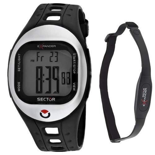 Sector Men's Expander Black Silicone Band Plastic Case Quartz Grey Dial Digital Watch 3251173115