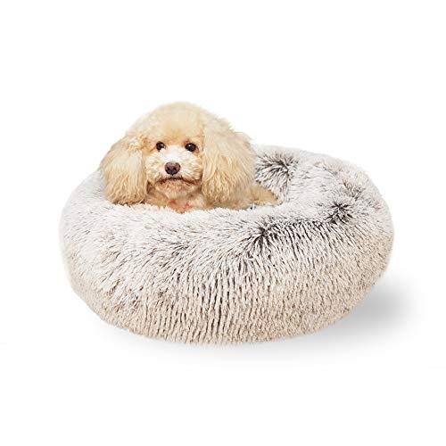 Laifug Dog Bed Cat Bed Faux Fur Plush Donut,Machine Washable,Non-Slip Bottom,Multiple Sizes (Medium(23''x23''), Brown)