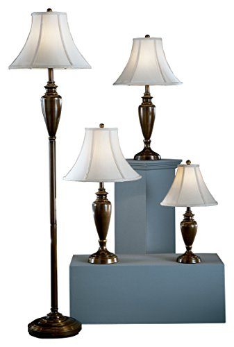 Drawer Lamp Collection - Ashley Furniture Signature Design - Caron Collection Lamp Set - Set of 4 - Floor, Accent & 2 Table Lamps - Brass Finish