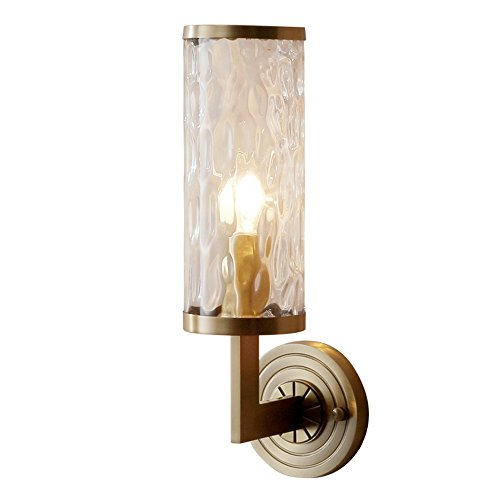 Wall Sconces Clear Water Glass Shade Wall Lantern Brushed Brass Full Copper Light Fixture with 1 Light Wall Lamps Sconces Upidlighting (Autumn Brass Lantern)