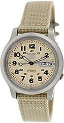 Seiko Men's 5 Automatic SNKN27K Beige Nylon Automatic Watch