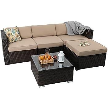 PHI VILLA Outdoor Rattan Sectional Sofa  Patio Wicker Furniture Set  (5 Piece, Beige)