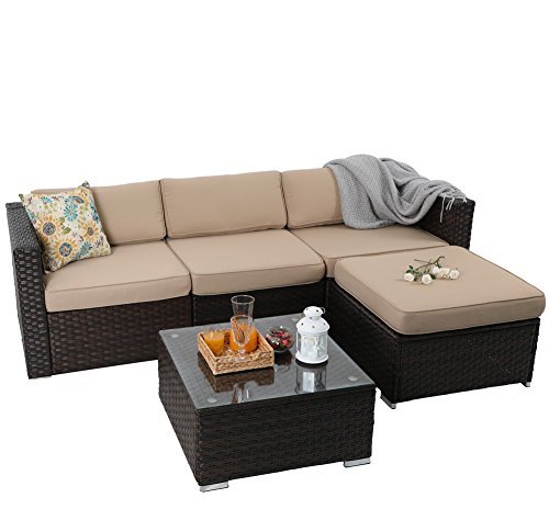 PHI VILLA 5-Piece Outdoor Rattan Sectional Sofa- Patio Wicker Furniture Set, Beige (Wicker Outdoor Sofa Set)