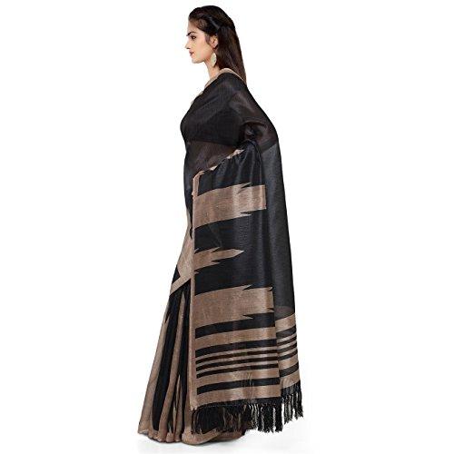 Rajnandini-Womens-Tussar-Silk-Stripes-Printed-SareeJOPLNB3012ABlackFree-Size