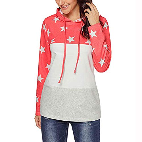 men Clearance, Womens Dresses Star Print Stitched Hooded Long Sleeve Tops Blouses Hot!(Pink,M) ()